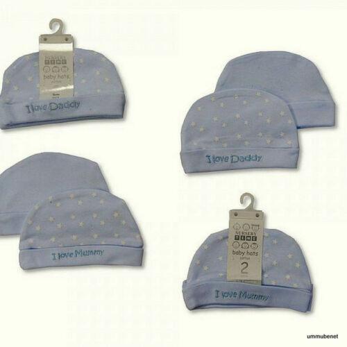 2 x Mützchen Baby Mütze wahlweise Mädchen//Jungen Einheitsgröße 0-3 Monate