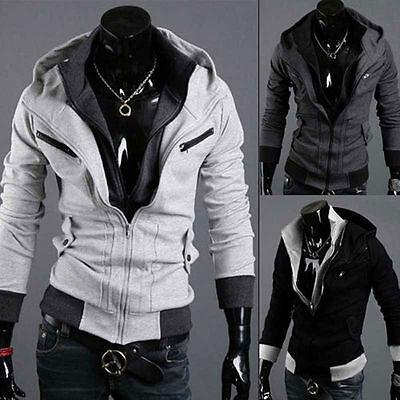 Men's Boys Winter Casual Zip Up Hooded Hoodies Tops Jacket Coat Sweater Overcoat