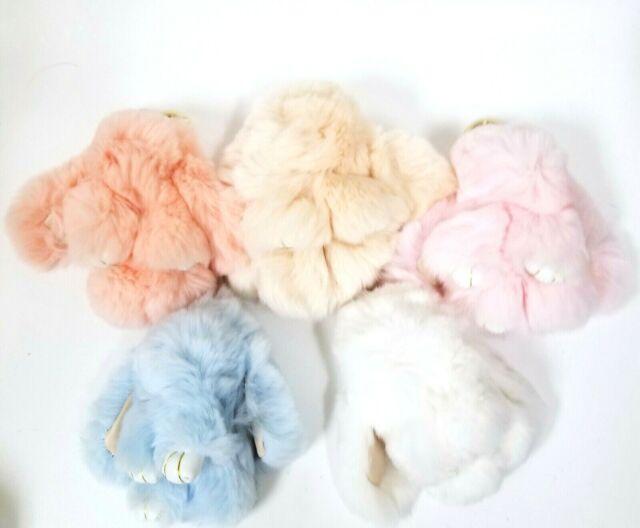 Vintage Easter Flower Rose Real Fur Rose Bag Charm Leather Tassel Key 3 FOR 2