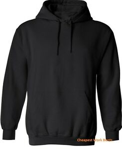 reputable site 29980 2e113 Image is loading Plain-Black-Hoodie-Mens-Hooded-Sweatshirt-Jumper-Pullover-