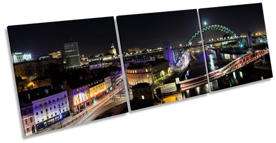 Newcastle Tyne Bridge Quayside TREBLE TELA Wall Art Box Frame stampa