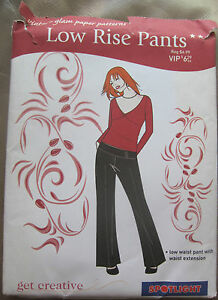 Vintage-Glam-Pattern-Low-Rise-Pants-Sizes-8-16-NEW