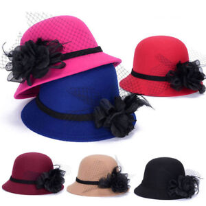9a99414b0 Women Stylish Imitation Wool Tulle Feather Flower Bowler Hat Bucket ...