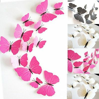 12Pcs 3D Vinyl Butterfly Wall Home Decor DIY Stickers Kids Room Party Decals Hot