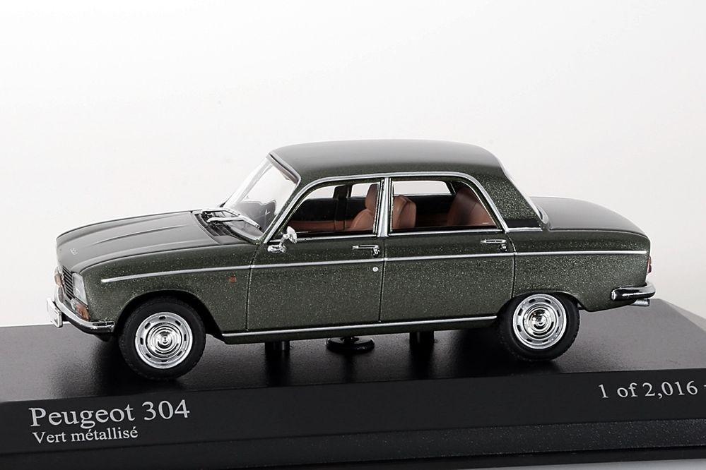 Peugeot 304, 1972 green metallic Minichamps 1 43 NEW OVP