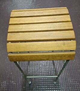 Tabouret de bar vintage en bois et metal