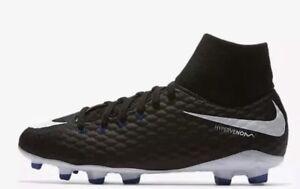 NEW-NIKE-JR-HYPERVENOM-PHELON-3-DG-FG-Kids-BLACK-Football-Boots-SIZE-UK-4-5