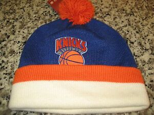 b7e0f23c9aa MENS NEW YORK KNICKS Mitchell   Ness Winter BEANIE HAT BLUE ORANGE ...