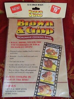 Large Microwave Cooking Bags Brown Crisp REUSABLE Bake Broil Steam NEW OLD STOCK