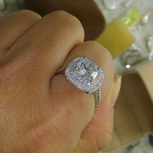 2.60 Ct Cushion Cut Diamond Engagement Ring Anniversary Gift White Gold Finish
