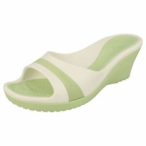 1910f21aa LADIES WEDGE STYLE SLIP ON SYNTHETIC CELERY WHITE SANDLE BY CROCS ...