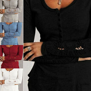 Sexy-Ladies-Long-Sleeve-Shirt-Women-Casual-Cotton-Lace-Blouse-Loose-Tops-T-Shirt