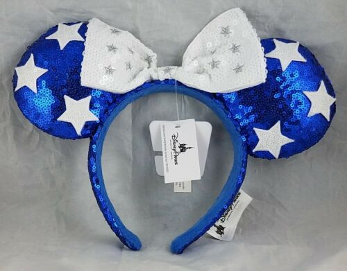 NEW Disney Parks Minnie Mouse Blue Ears White Bow Stars Headband Hat Sequin