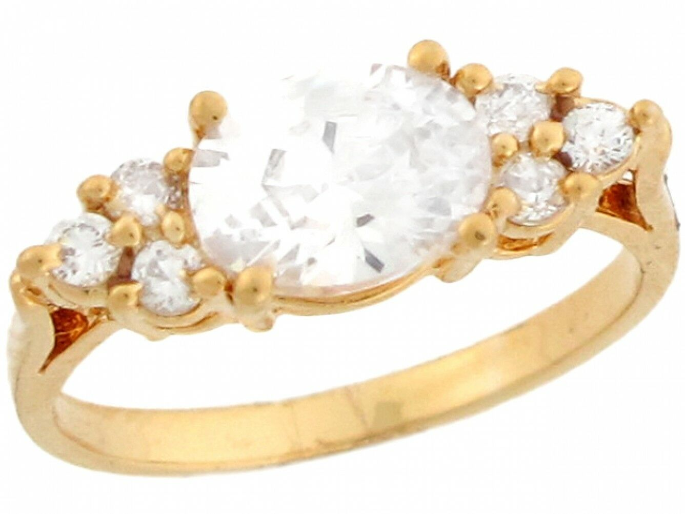 10k or 14k Real Yellow gold White Cluster CZ Pretty Floral Ladies Ring