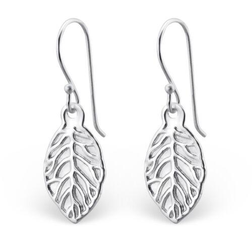 925 Solid Sterling Silver Leaf Dangle Earrings Dangly Ladies Girls Boxed W10