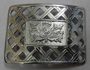Scottish thistle knot travail boucle de ceinture finition argent//chardon buckle pour kilts