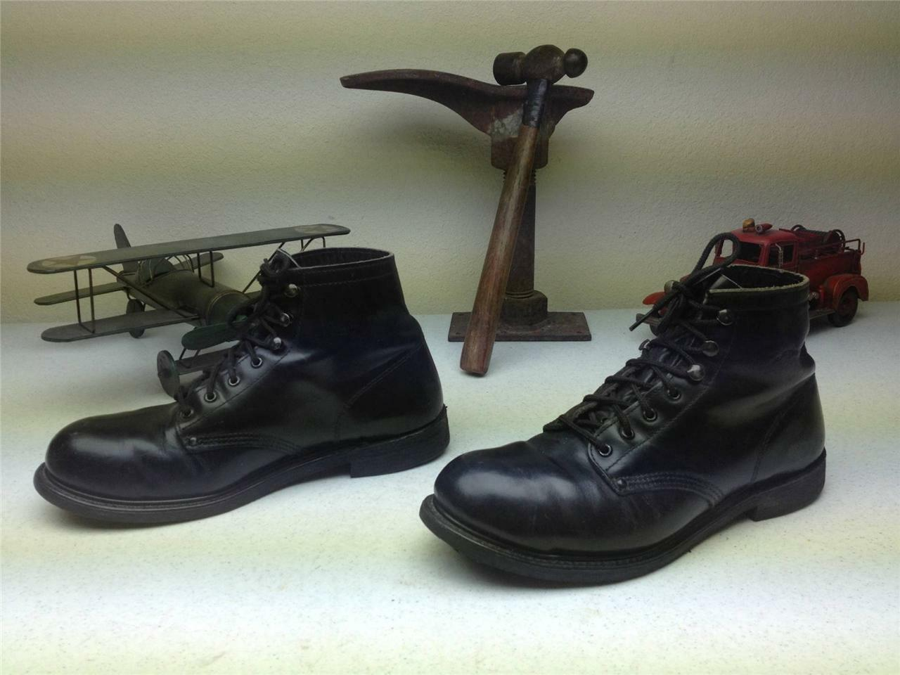 CAROLINA MADE IN USA RED BIRD BLACK LEATHER STEEL TOE DISTRESSED LACE UP 9.5 D