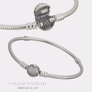 Image Is Loading Authentic Pandora Silver Sparkling Heart Cz Clasp Bracelet
