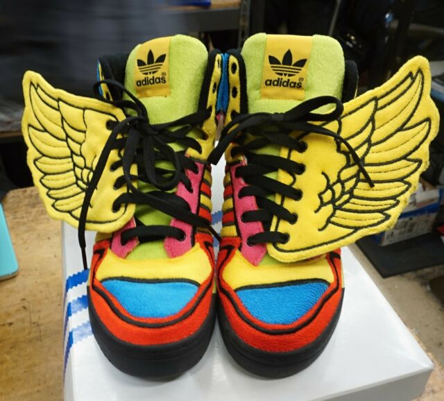 Adidas JEREMY SCOTT WINGS JS OBYO Sneakers CHENILLE Shoes teddy~Mens size 9 USED