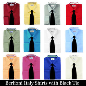 Berlioni-Italy-French-Convertible-Cuff-Solid-Mens-Dress-Shirt-with-Black-Tie