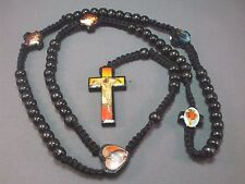 Rosary Necklace Wood Bead MACRAME Photo Crucifix Holy Images BLACK Low Stock!