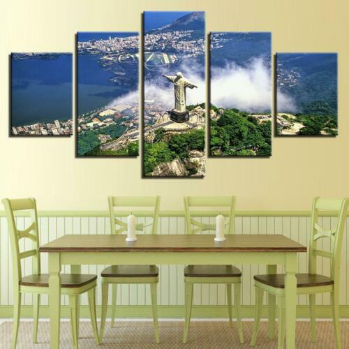 Rio/'s Christ The Redeemer 5 panel canvas Wall Art Home Decor Poster Print