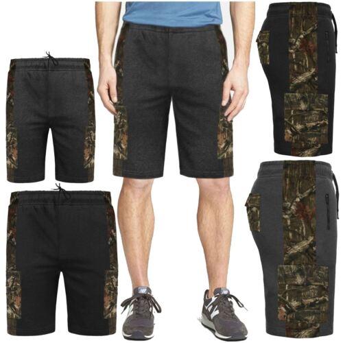 Da Uomo Giungla Stampa in Pile Pantaloncini due toni contrasto Cargo Combat Palestra Sudore Pantaloni