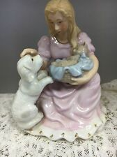 VINTAGE FIGURINE GIRL WITH DOG & CAT - PINK QUAINT CUTE PUPPY KITTEN SHABBY CHIC
