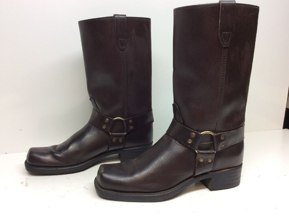 VTG MENS UNBRANDED HARNESS MOTORCYCLE LEATHER DARK BROWN BOOTS SIZE 10 D