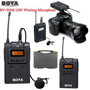 boya by wm6 pro uhf wireless microphone system lavalier for eng efp dslr camera 656010174011 ebay. Black Bedroom Furniture Sets. Home Design Ideas
