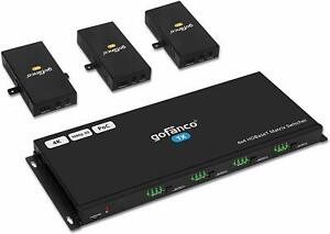 gofanco 4x4 HDMI Matrix Extender 4K HDBaseT Over Cat5e/Cat6 4 In 4 Out; Open Box