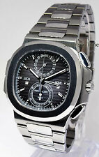 Patek Philippe Nautilus Travel Time Chronograph Steel Watch Box/Papers 5990 *