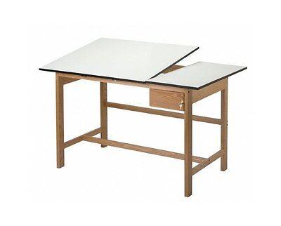 ALVIN Titan II Solid Oak Drafting Table Split Top 37x60