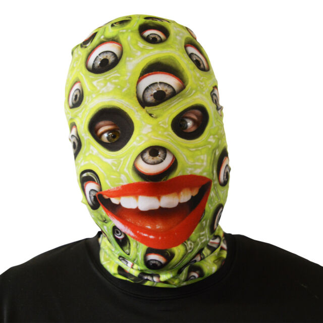 green eyeball slime halloween face mask adult fancy dress scary lycra horror