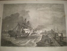 Ship and Crew Saved by G H Andrews 1868 old print ref Z1