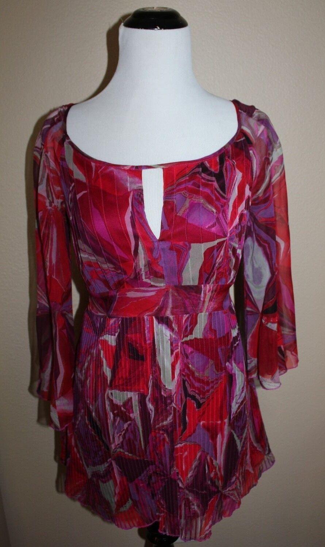 Diane Von Furstenberg Silk Top S Multi Farbe pleats tie at waist 3 4 bell sleeve