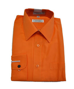 Hombre Camisas Vestir Manga Larga De Color Naranja 19 12