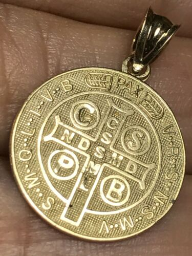 "Gold St Saint Benoît mvniamvr San Benito muniamur 10k Pendentif Senita 1.5 g .85/"""