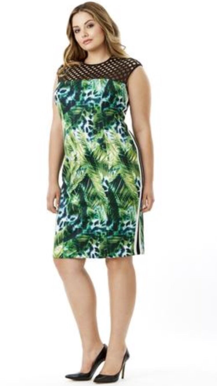 Mynt 1792 Scuba Tropical Bodycon Dress Size 2X New  Featured In Lane Bryant