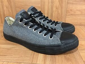 RARE-Converse-Chuck-Taylor-All-Star-Low-Gray-Wool-Black-Leather-Toe-Trim-Sz-10