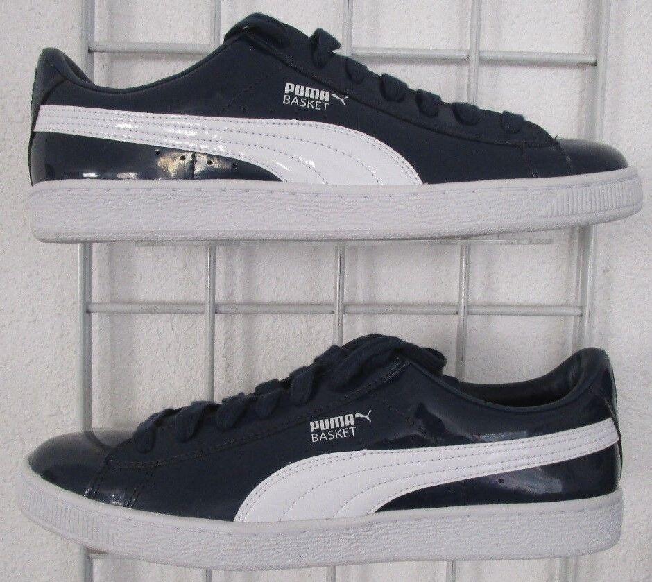 Men's Puma Basket Matte & Shine Sneakers, New Navy bluee White Walking shoes 10.5