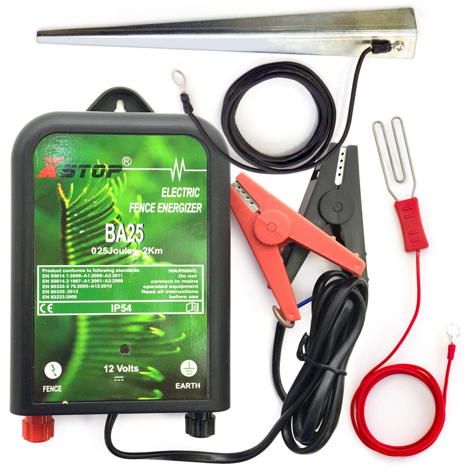 12v Batterie 2km Angetrieben Kontaktzaun Einzäunung Energiser Unit Earth .25j