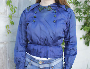 Antique-Victorian-French-bodice-shirt-satin-blue-victorian-applique-clothing