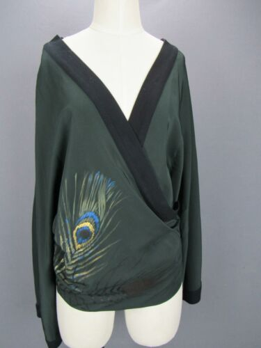 Elizabeth and James Green Hand Painted Peacock Fea