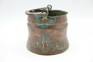 ANTIQUE-PRIMITIVE-EARLY-AMERICAN-COPPER-BUCKET-PAIL-OLD-DOVETAILED-SEAMS