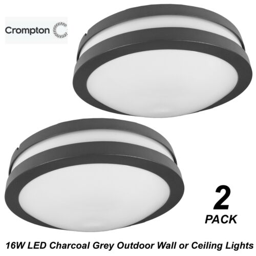 2 x 16W LED Charcoal Grey Round Bunker Wall Lights Diffused Outdoor Exterior