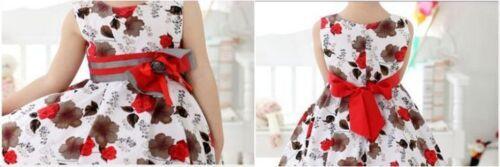 Bow Formal Dress Wedding Flower Girl White Red Kid Skirt Size 3 UpTo 13 years UK