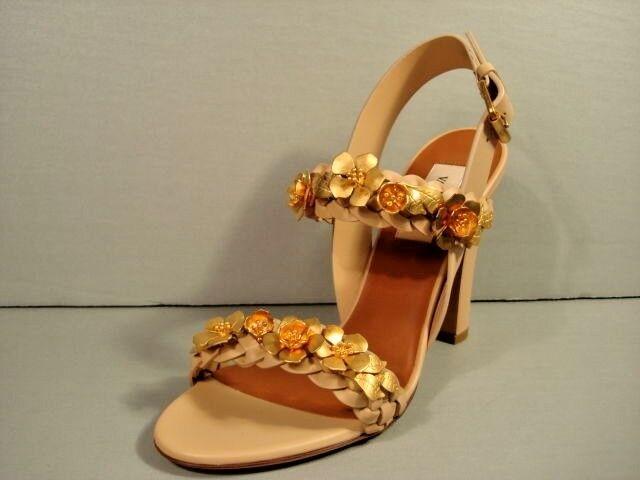 Valentino 36 6 Beige Braided Leather Gilded Flower gold Applique Sandals New