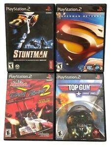 PlayStation 2 Video Game Lot of 4-Stuntman, Superman,Drag Racing,Top Gun