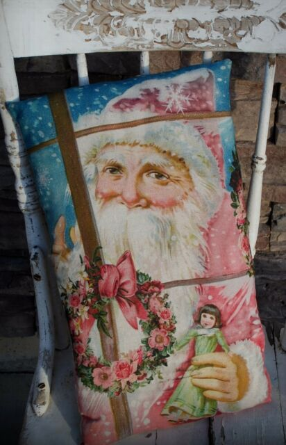 Shabby pink Santa Claus Christmas pillow Belsnickle Victorian antique wreath